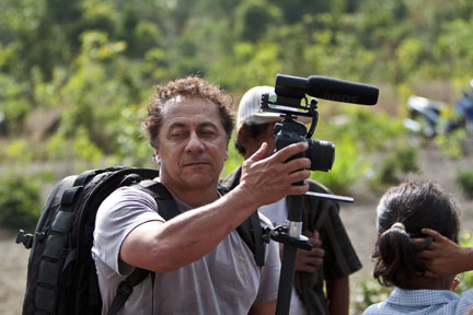 David filming East Bali Poverty Project festival with his Canon 5D.
