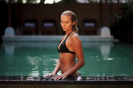 Sierra Partridge looking sexy in an O'Neill bikini at the pool. We did a lot of shooting in this pool. Copyright David Pu'u