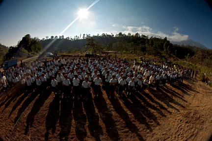 East Bali Poverty Project School Students Line Up for Independence Day Ceremony.  Copyright David Pu'u