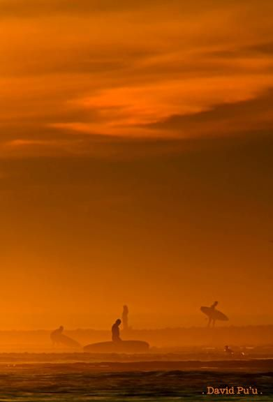 Sunset Surfers by David Pu'u