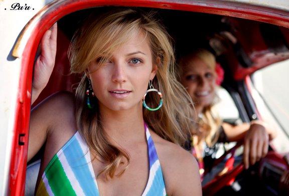 Sierra Partridge in a shoot for Hobie Girl, wearing Betty B. Surfboard Resin earrings.