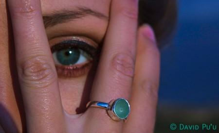 Sea glass ring in sea foam, single bezel, hand made 925 sterling