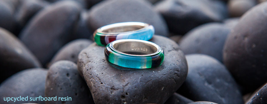 Upcycled surfboard resin and fine silver spinning ring