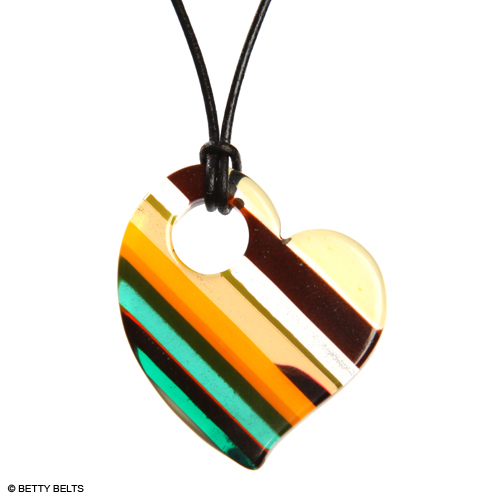 Upcycled surfboard resin heart necklace is #scraptostyle
